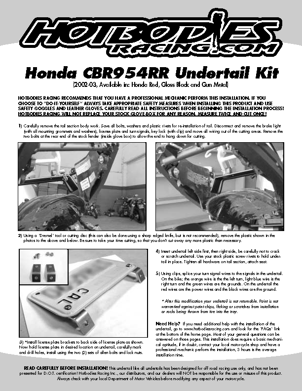 CBR 954RR 2002-03 Undertail Installation