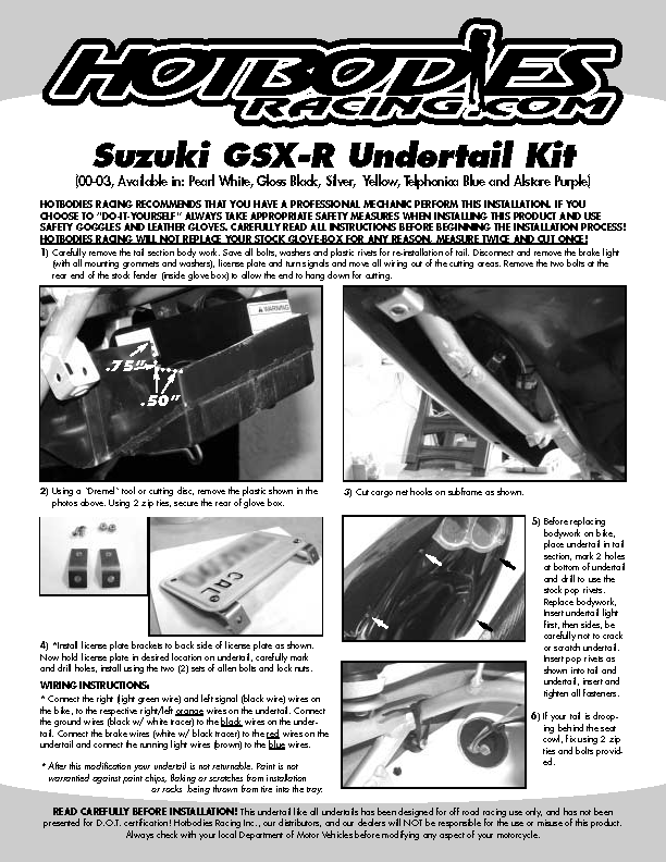 GSX-R 600 2000-03 Undertail Installation